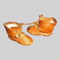 Pair of Small Brown Leather Antique Doll Boots TLC