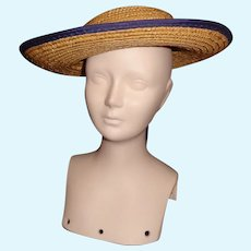 Nice Straw Doll Hat, Blue Trim