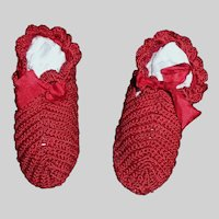 Wonderful Pair of Early Fashion Doll Slippers