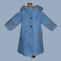 Antique Blue Wool Doll Coat, Soutache Trim, TLC