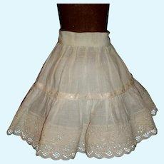 Pretty White Cotton Petticoat, Lace and Ribbon