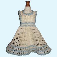 Blue and White Crocheted Small Doll Pinafore