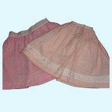 2 Nice Pink Wool Flannel Petticoats.