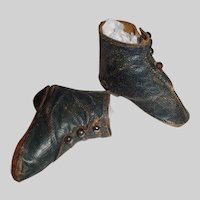 Wonderful Pair of Antique Blue Leather Doll Boots, China, Papier Mache, Fashion