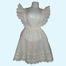 Lovely White Cotton Eyelet Pinafore for a Large Doll