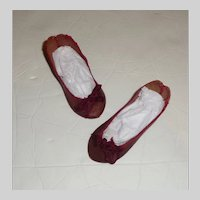 Fabulous Pair of Antique Maroon Leather French Paris Doll Shoes