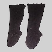 Nice Pair of Antique Black Weave Doll Stockings, Cloth, China