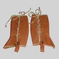 Pair of Antqiue Brown Leather Gaiters for a French Fashion Doll