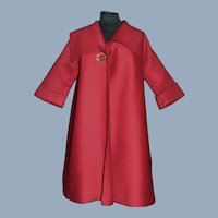Dark Red Wool Challis Doll Coat, Fashion, Lady