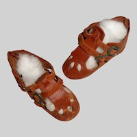 Pair of Antique Brown Leather Doll Shoes / Sandals