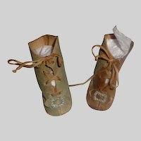 Pair of Antique  Green Leather Doll Boots, Damage