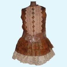 Brown Stripe Silk Bebe Doll Dress with Damage