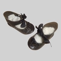 Nice Pair of French Black Leather Doll Shoes, Marked MB Paris