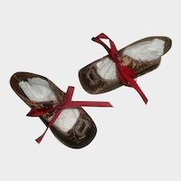 Pair of Antique Dark Brown Leather Doll Shoes, TLC