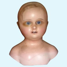 """Large 7"""" Antique Wax Over Doll Head w Rare Double Row of Teeth"""