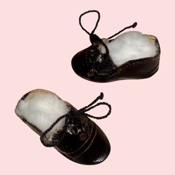 Pair of Antique Black Oil Cloth Small Boy Doll Shoes