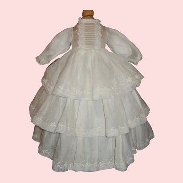 Lovely White Organdy Fashion Doll Dress, Embroidered Daisies