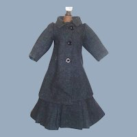 Wonderful Antique Dark Blue Tweed Fashion / Lady Doll Suit