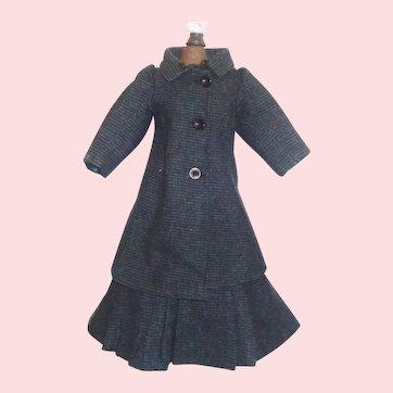 Wonderful Antique Dark Blue Tweed Fashion / Lady Doll Suit