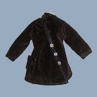 Early Dark Brown Velvet and Silk Fashion Doll Jacket