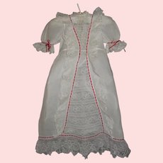 Pretty Antique Doll Dress  / Gown. Red Ribbons and Lace