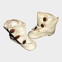 Nice Pair of Antique White Leather Fashion Doll Boots