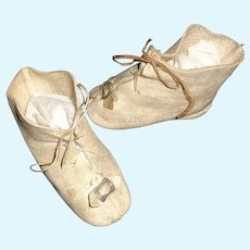 Nice Pair of Antique White Leather Doll Boots