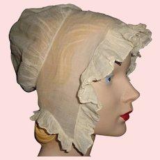 Lovely Antique Organdy Bonnet w Provenance