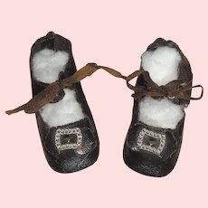Pair of Antique Black Oil Cloth Doll Shoes 8