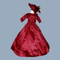 Beautiful Antique Dark Maroon Fashion Doll Dress w Hat