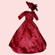 Beautiful Antique Dark Maroon Fashion Doll Dress w Hat