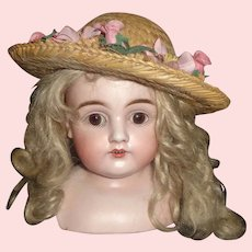 Pretty Doll Straw Hat with Pink Rose Buds and Flowers.