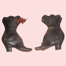 Pair of Early Antique French Fashion Doll Boots