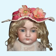 Bright Pink Doll Hat w Silk Flowers