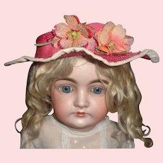 Bright Pink Doll Hat w Silk Flowers