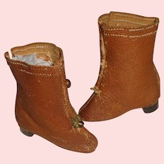 Pair of Antique Leather Fashion JJ Doll Boots