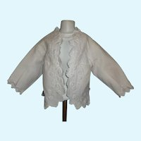 Beautiful Antique Victorian White Pique Small Child / Large Doll Jacket