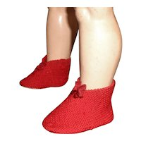 Cute Pair of Antique Doll Red Wool Christmas Slippers