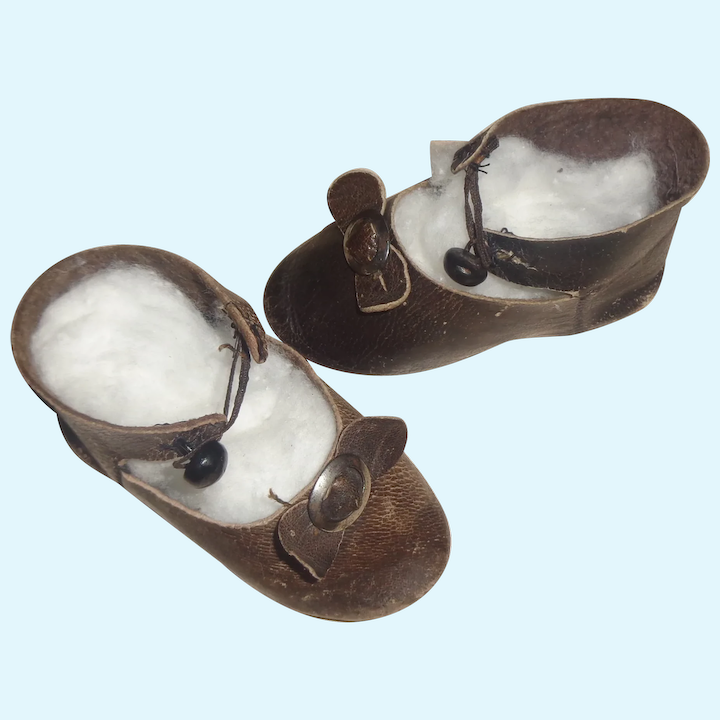 Leather doll shoes 5,7 cm 2  2\\8    French style for an antique doll dark brown