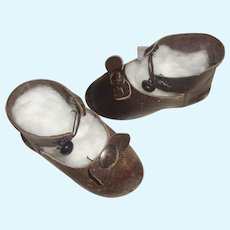 Pair of Antique Brown Leather French or German Bebe Doll Shoes