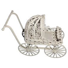 Nice Small White Metal Doll House Size Carriage