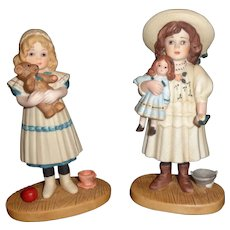Pair of Jan Hagara Bisque Figurines, Doll, Teddy Bear