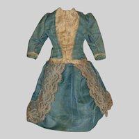 Fabulous Blue Silk Antique Fashion / Lady Doll Dress