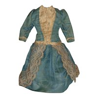 Fabulous Blue Silk Antique Fashion / Lady Doll Dress