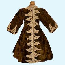 Wonderful Early Antique Fashion doll  Velvet Coat / Dress