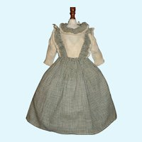 Nice Early Antique  Green and White Check Cotton Spun Doll Dress, Cloth, Papier Mache