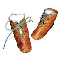Wonderful Pair of Antique Keystone Brown Leather Doll Boots, 4 Cloth, Papier Mache