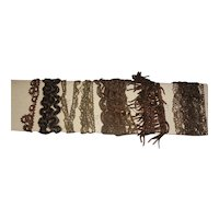 Lovely 6 Different Early Antique Metallic Trims for Making Fashion Doll Clothes