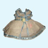 Nice Early Sheer Organdy Small Doll Dress w Petticoat