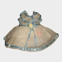 Nice Early Sheer Organdy Small Doll Dress w Petticoat